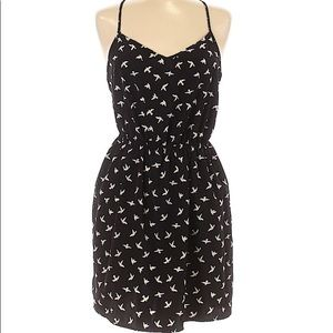 Patterned casual black and white dress